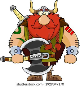 Viking Cartoon Character Holding A Big Axe. Vector Illustration Isolated On Transparent Background