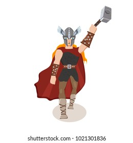 Viking cartoon character. Scandinavian god Thor with a thunder  hammer. Vector illustration. Flat style.