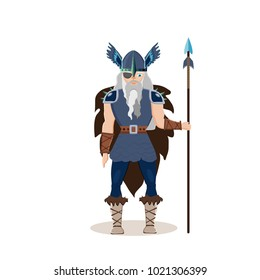 Viking cartoon character. Scandinavian god Odin ( Wotan)  with a spear. Vector illustration. Flat style.