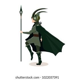 Viking cartoon character. Scandinavian god Loki. Vector illustration. Flat style.
