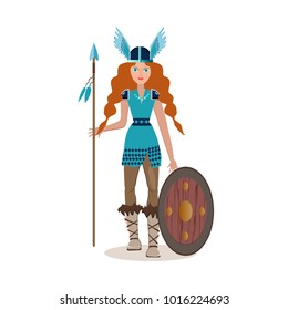 Viking cartoon character. Valkyrie with spear and shield. Vector illustration. Flat style.