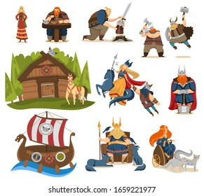 Viking cartoon characters and gods of norse mythology, vector illustration. Heroes of Scandinavian legends, bearded men warriors in horned helmets. Viking gods, Odin, Thor and Freya. People set