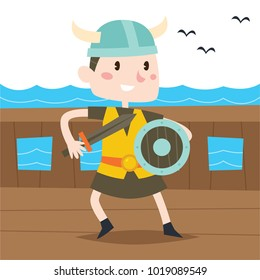 Viking cartoon kid character illustration
