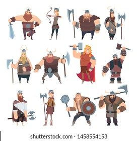 Viking cartoon. Scandinavian mythologyy characters norway costume vikings warrior male and female vector illustrations. Viking and warrior, norway scandinavian people