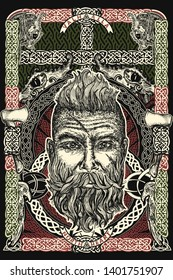 Viking. Celtic print. Barbarian warrior head. Northern celtic mythology art, t-shirt design