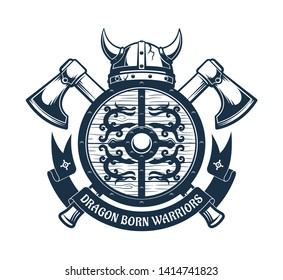 Viking coat of arms - shield with dragons and horned helmet, battle axes and heraldic ribbon. Vector illustration.