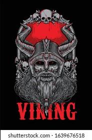 Viking Corpse Bone Zombie Illuastration Tshirt