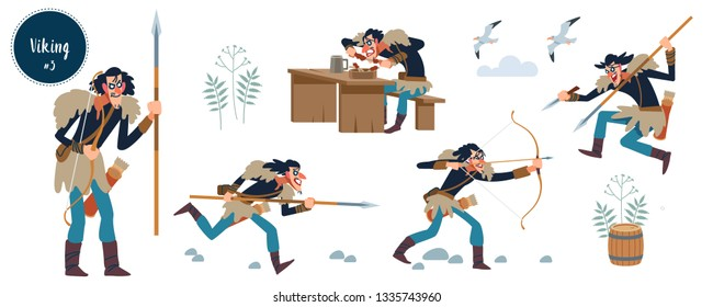 Viking. Crazy wiry long Viking with spear and bow. Design concept with flat human character of various emotions in different situations with cartoon pictograms vector illustration