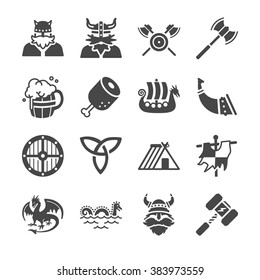 Viking culture icons. Included the icons as viking warrior, axe, meat, ship, barbarian, dragon and more.