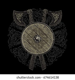 Viking design, crossed viking battle axes and shield of a Viking with the scandinavian runes, vector illustration