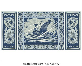 Viking design. Drakkar sailing in a stormy sea. In the frame of the Scandinavian pattern and Dragons, isolated on white, vector illustration