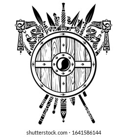 Viking design. Viking shield and swords. Set of medieval weapons, swords and spears of warriors, isolated on white, vector illustration