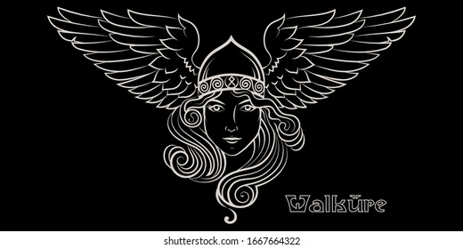 Viking Design. Valkyrie in a winged helmet. Image of Valkyrie, a woman warrior from Scandinavian mythology, isolated on black, vector illustration