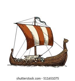 Viking drakkar. Sailing ship floating on the sea waves. Hand drawn design element. Vintage vector engraving illustration for poster, label, postmark. Isolated on blue background.