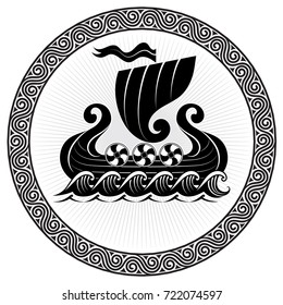 Viking Drakkar. Drakkar ship sailing on the stormy sea, vector illustration, isolated on black