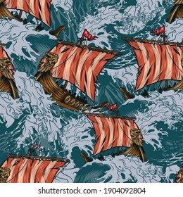 Viking drakkar ships colorful seamless pattern in vintage style with medieval scandinavian warships sailing on stormy sea vector illustration