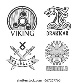 Viking, drakkar and valhalla monochrome isolated logotypes set