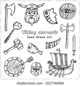 Viking elements Hand drawn doodle set. Vector illustration. Isolated elements on white background. Symbol collection.