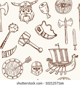 Viking elements Hand drawn doodle seamless pattern. Vector illustration. Symbol collection.