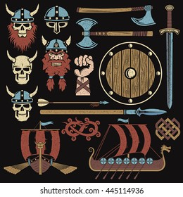 Viking elements vintage set to create a medieval warrior coat of arms.