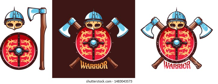 Viking emblem with helmet, dragon shield and crossed battle axes. Vector illustration. Worn texture on a separate layer.