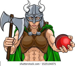 A Viking female warrior woman gladiator cricket sports mascot