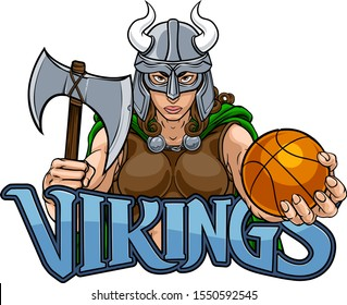 A Viking female warrior woman gladiator basketball sports mascot