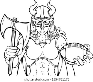 A Viking female warrior woman gladiator American football sports mascot