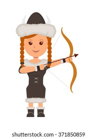 Viking. A girl in costume a viking with a bow and arrow aiming. Isolated character viking on the white background
