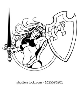 Viking girl with shield and sword.