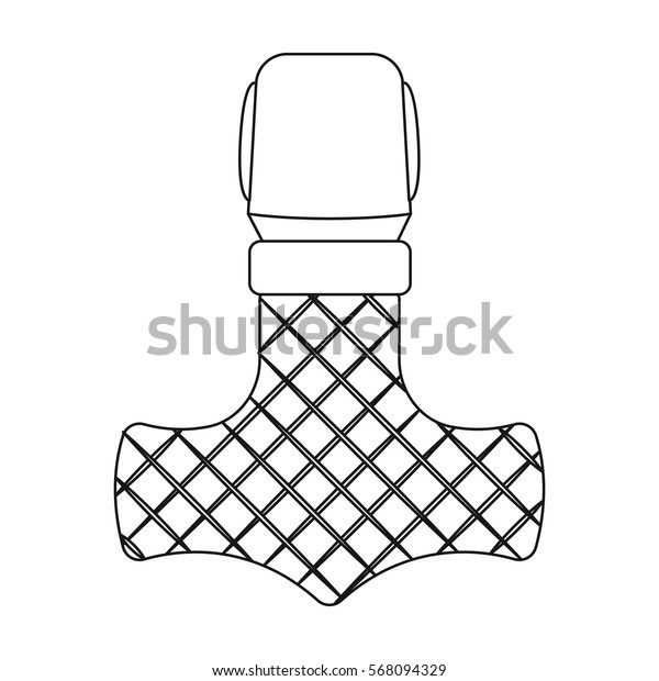 Viking god hammer icon in outline style isolated on white background. Vikings symbol stock vector illustration.