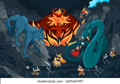 Viking gods, norse mythology people and monsters cartoon characters, fight scene vector illustration. Scandinavian legend, epic battle heroes of nordic culture. Fantasy viking god adventure fairytale