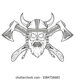 Viking. Hand drawn of a viking in a helmet. Sketch of viking head with traditional weapons. Vector artwork.