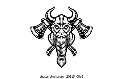 Viking head with double axe isolated vector