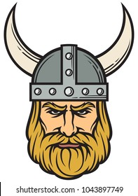 Viking head (mascot cartoon with horned helmet)