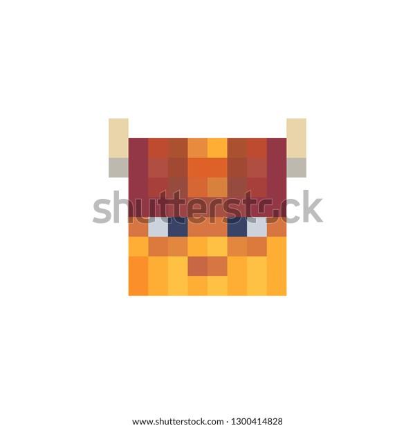 Viking Head Pixel Art Character Abstract Stock Vector