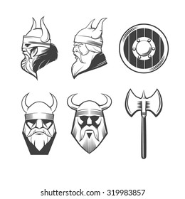 viking head, shield and ax, viking weapons, security idea, for logo, design emblem