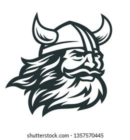 Viking head vector image. Head of bearded viking warrior with horned helmet.