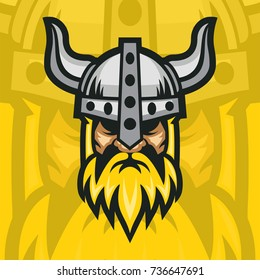 Viking Head With Yellow Background for Sport Logo Vector Logo Template