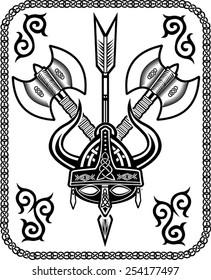Viking Helmet arrow ax