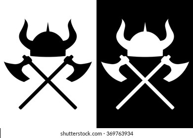 Viking helmet and axes. Vector icon. Isolated on  white and black background.