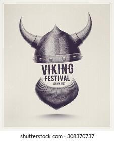 Viking helmet and beard, Jorvik viking festival, eps 10