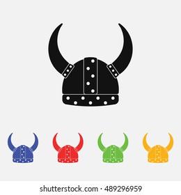 viking helmet flat icon