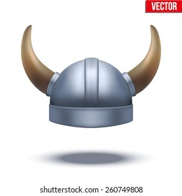 Viking helmet with horns. Vector illustration isolated on white background.