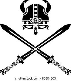 viking helmet and swords. second variant. vector illustration