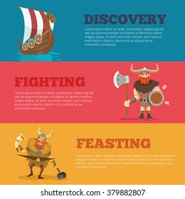 Viking horizontal banners set. Vector flat cartoon illustration