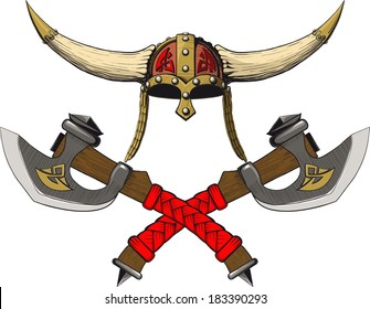 Viking horned helmet emblem with two crossed axes
