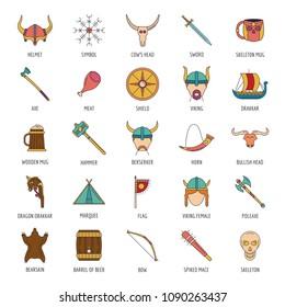 Viking icon set. Cartoon Viking set vector for web design isolated on white background