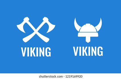 Viking icon set. Vector Illustration of medieval scandinavian warriors. Crossed Axes and Helmet of Viking - Flat vector logos isolated on blue background.