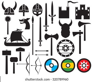viking icons collection (sword, round wooden shield, long ship, head horned helmet, mace, hammer, arrow, bow, axe, tower, old castle)
